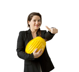 successful female engineer with safety helmet on white backgrou
