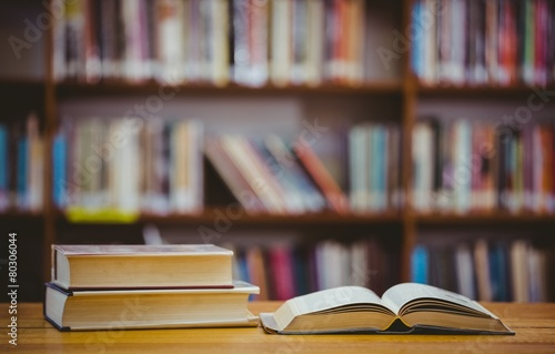 Poster Books on desk in library
