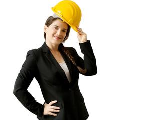 smiling female enginer with helmet over white background