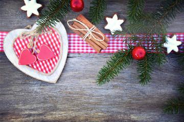 Weihnachtskarte - Karo Herz - nostalgisch