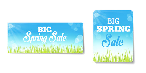 Spring sales labels for web or print or shop window decoration.