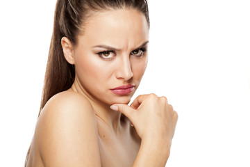 angry young woman looking at the camera