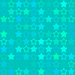 Shiny stars on light blue background, glowing seamless vector pa