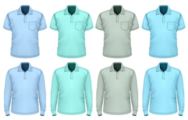 Men polo-shirt. Shades of blue.