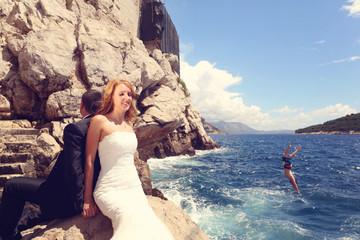 bride relaxing near water