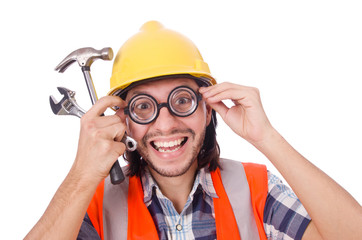 Funny construction worker with hammer and wrench isolated on