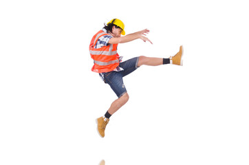 Falling young construction worker isolated on white
