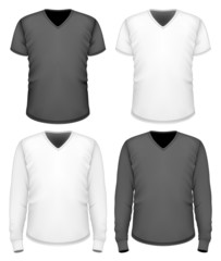 Men t-shirt v-neck short and long sleeve.