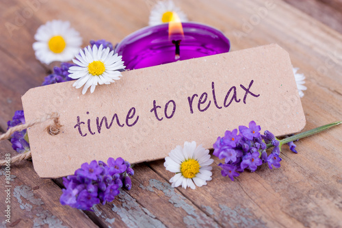 Poster Time to relax mit duftendem Lavendel