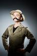Man in safari hat in hunting concept - 80306849