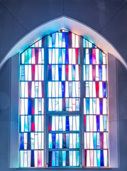 Simple Stained Glass Panels in Church Window