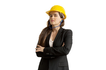 successful female engineer with safety helmet and earplugs