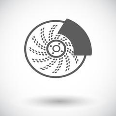 Automobile brakes single icon.