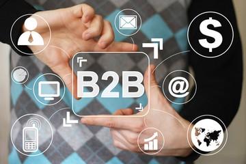 Businessman pressing sign button b2b virtual.