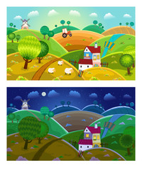 Rural landscape. Day and night.