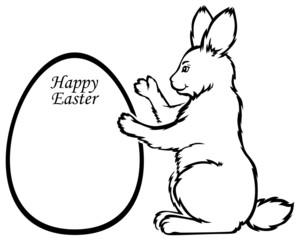 Easter Rabbit holds greeting frame in form egg