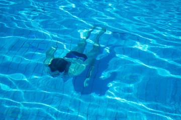 Man swim under water