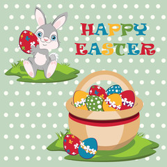Smiling Easter bunny width Easter basket.