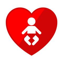 Icono corazon con simbolo bebe