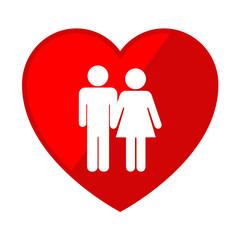 Icono corazon con simbolo matrimonio
