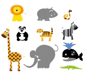 set of wild animals for children / vectors