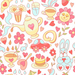Vector tea and sweets seamless pattern