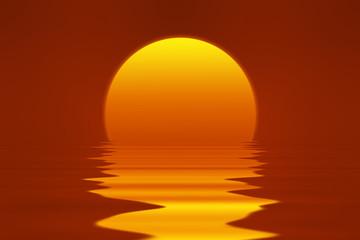 romantischer Sonnen Untergang mit Meer Spiegelung