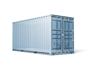 Cargo container, render with wireframe lines isolated on white