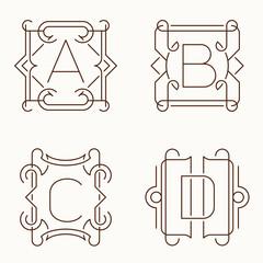 Vector mono line monograms. A, B, C, D.