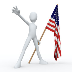 3D Man Flag USA