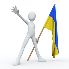 3D Man Flag UKR