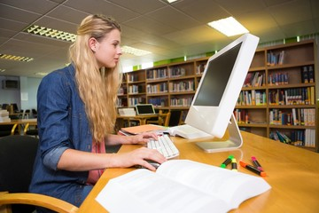 Student studying in the library with computer