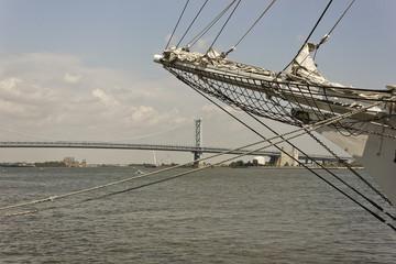 View of Benjamin Franklin Bridge from Penn's Landing