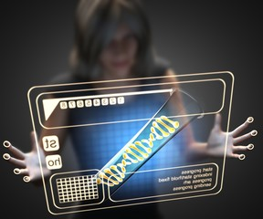 woman and hologram with DNA