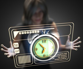 woman and hologram with clock