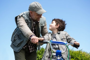 Father and son on a bike ride