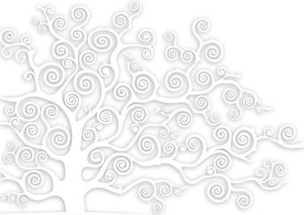 albero con rami curvi in rilievo