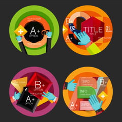 Set of option presentation labels, flat design web infographic