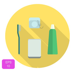 Dental care set icon, oral care daily routine