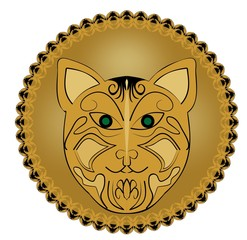 Ritual amulet with cat head in golden circle