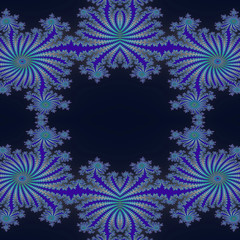 Fractal blue with stylized flowers and rays