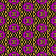 Seamless fractal pattern with flowers and gold entwined circles
