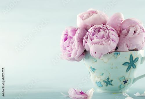 Keuken foto achterwand Bloemen Pink peony flowers