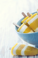 Yellow mango homemade popsicles