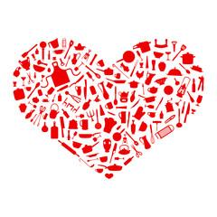 Herz aus Silhouetten Rot