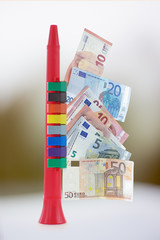 Colorful musical toy Clarina and euro banknotes