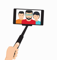 Monopod in Hand Taking Selfie in the Group of People On a Mobile