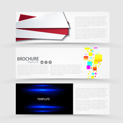 Vector modern banners set on gray background.