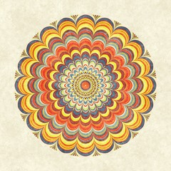 Colorful vintage round mandala