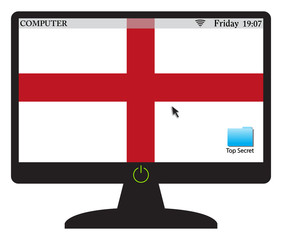 English Computer Screen With On Button